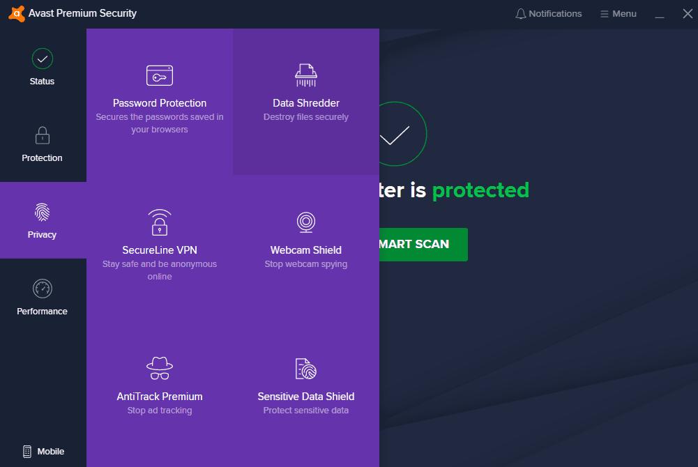 Avast antivirus interface 3 1