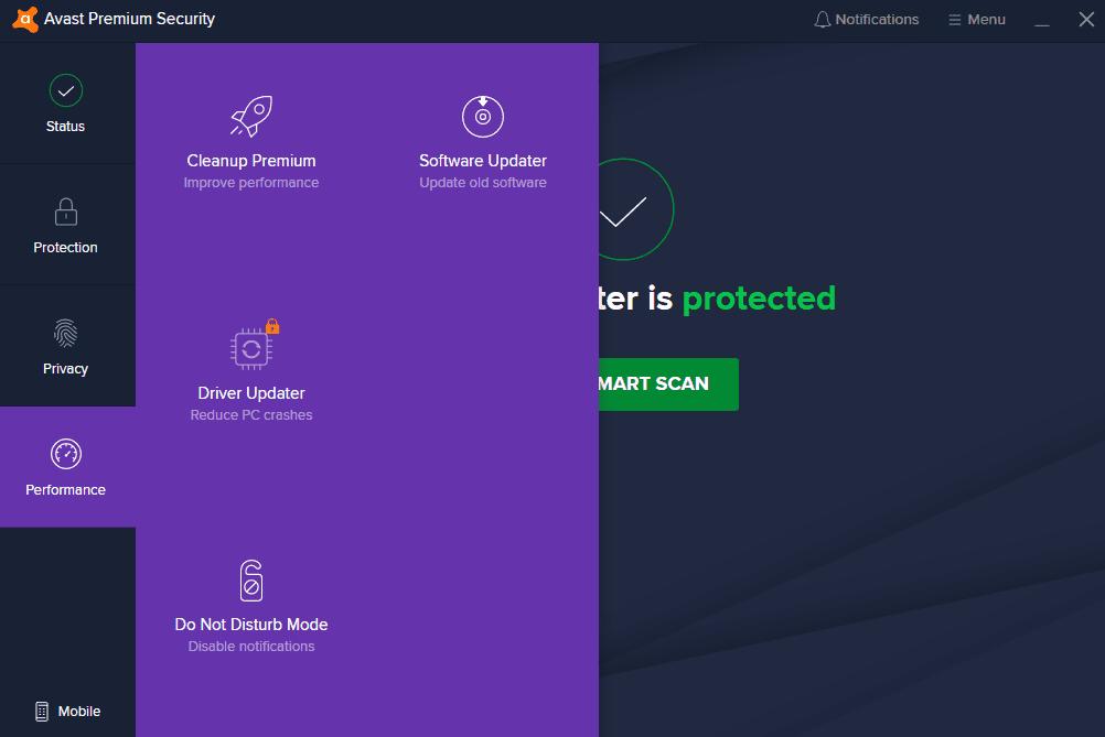 Avast antivirus interface 4