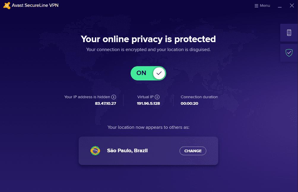 Avast antivirus interface 7